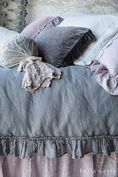 French Gray Bedding - duvet covers and pillows in muted shades of gray and pink - via Bella Notte Linens