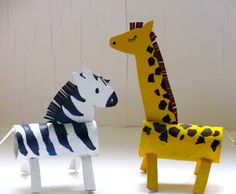 DIY Giraffe & Zebra from cardboard tubes