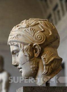 , ARTE GRIEGO. EPOCA CLASICA. GRECIA. Cabeza del la estatua del dios de la guerra, HARES. Copia romana en mármol de un original griego de alrededor del 430 a. C. Glyptothek. Munich. Alemania. Europa.
