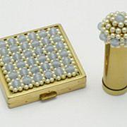 Rare Vintage CINER Moonstone Natural Pearl Compact Vanity Kit Book Piece