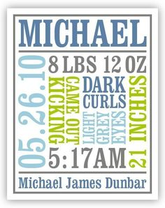 Custom Baby Birth Poster Style 2 by Chaiv on Etsy