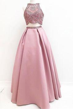 Pink Prom Dresses #PinkPromDresses, A-Line Prom Dresses #ALinePromDresses, Prom Dresses Two Piece #PromDressesTwoPiece, Long Prom Dresses #LongPromDresses