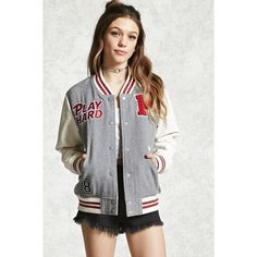 Forever21 Play Hard Varsity Jacket (1,905 INR) ❤ liked on Polyvore featuring outerwear, jackets, patch jacket, varsity jackets, varsity-style bomber jacket, long letterman jacket and quilted jacket