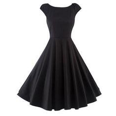 Fitting Cap Sleeve Fit and Flare Dress Plain Prom Dresses, Formal Dresses With Sleeves, Plain Dress, Casual Dresses, Vintage Red Dress, Vintage Dresses, Vintage Yellow, Retro Dress, Cheap Black Dress