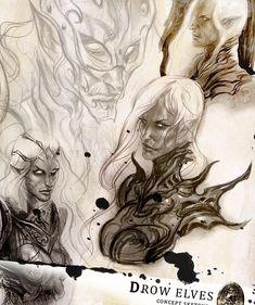 "601 Me gusta, 1 comentarios - Aleksi Briclot (@aleksibriclot) en Instagram: ""Sketches for some Drow elves #sketches #sketching #drow #elves in my #moleskine #sketchbook #elf…"""