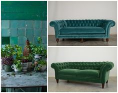 Our English Chesterfield in Bluestone + Emerald Velvet. A great color mix. #teal #blue #bluegreen #green #emerald #velvet #chesterfieldsofa #tuftedsofa #handcrafted #cococohome #furniture #madeinUSA #tealandgreen #greenandteal