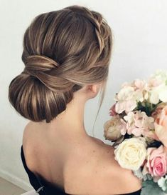 Wedding bun updo braide hairstyle