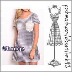 Striped Shift Dress Everyday wear navy & Ivory striped with lace pocket detail shift dress. Made of super soft rayon, polyester and spandex for comfort and stretch. Pair with leggings or simply wear as a dress. Size S, M, L Price is firm unless bundled. Threads & Trends Dresses