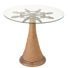 Ishmael End Table - Bring nautical-chic appeal to your living room or parlor with this eye-catching accent table, showcasing a glass top and tapered rope base. Outdoor Tables, Patio Table, Dining Table, Seaside Decor, Coastal Decor, Bar Height Table, Glass Table, End Tables, Coffee Tables