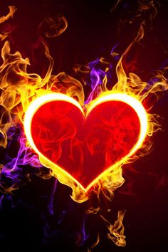 Flaming Heart iPhone Wallpaper