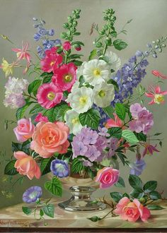 """Still Life With Flowers Greeting Card """"A September Floral Arrangement"""" by Albert Williams."""