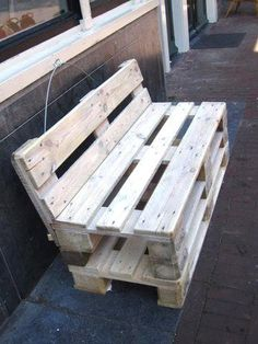 Wood simple bench outdoor