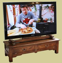Traditional styled oak TV stand, with drop down fielded panel false drawer, and bespoke oak TV mount. Tv Cupboard, Tv Stand Cabinet, Mounted Tv, Cupboards, Bespoke, Drawer, Furniture Design, Drop, Traditional