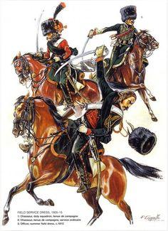 Cacciatori e ufficiale del rgt. cacciatori a cavallo della guardia imperiale