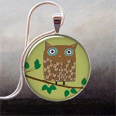 Retro Owl in Olive and Brown art pendant $8.95 @shannon