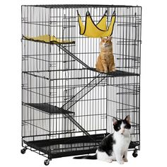 Yaheetech Deluxe Pets Cat Cage Playpen 4 Floors Iron Black 31.7×21.7×47.2 inch -- For more information, visit image link. (This is an affiliate link and I receive a commission for the sales) #Cats