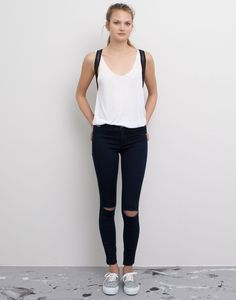 Pull&bear Basic Jeggings With Ripped Knees in Blue (DARK BLUE) | Lyst