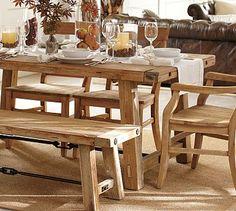 Benchwright Reclaimed Wood Fixed Dining Table - Wax Pine finish #potterybarn