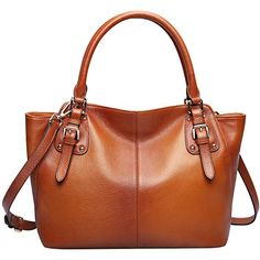 S-ZONE Women's Vintage Genuine Leather Shoulder Bag Top-handle Tote Cross body Handbags Ladys Purse