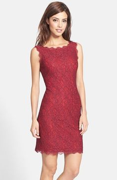 Free shipping and returns on Adrianna Papell Boatneck Lace Sheath Dress (Regular & Petite) at Nordstrom.com. A racy lace overlay and industrial-chic exposed zipper detail lend contemporary appeal to a classic boatneck sheath dress.