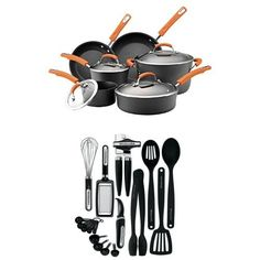Rachael Ray Hard Anodized II Nonstick Dishwasher Safe 10Piece Cookware Set Orange  17Piece Kitchen Tool Set Black >>> You can get additional details at the image link.-It is an affiliate link to Amazon.