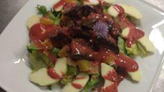 Przepis na Sałatkę z wątróbką z sosem truskawkowym z truskawkek kaszubskich/ kaszëbskô malëna #ChOG