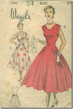 Vintage dress pattern. Beautiful neckline...
