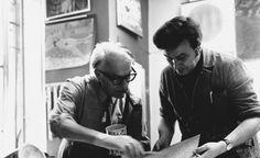 """""""Ricco di talento, animato da un'energia irrefrenabile, sempre alla ricerca di nuovi orizzonti e forme espressive, sempre pronto a lanciarsi in nuove sfide, Fiorenzo Fallani non ha solo il merito di aver contribuito alla realizzazione di tanti capolavori dell'arte contemporanea, ma ha anche quello di avere generosamente messo la sua esperienza a disposizione di tutti: grandi Maestri del Novecento come di giovani talenti ancora da scoprire."""" Foto del 1974: Mario De Luigi e Fiorenzo Fallani Luigi, Mario, Fictional Characters, Fit"""