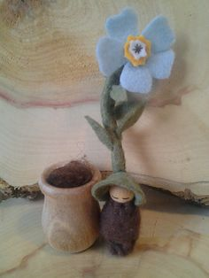 Forget Me Not Root Child  Waldorf Gnome  Felt by sugarplumhollow, $12.00