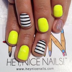 QuickFixMiami: Sunny Nails | Reminds me of a BumbleBee, LoL!!! The super summer flying insect. LoL!