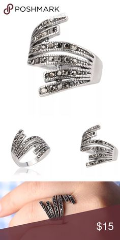 ✨New! Dark & Lovely New! Beautiful abstract Hematite Statement Ring.   •Silver Plated •Cubic Zirconia Jewelry Rings