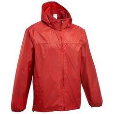 RANDONNEE Habillement Homme Randonnée - Rain-cut Zip Homme Rouge QUECHUA - Vêtements randonnée