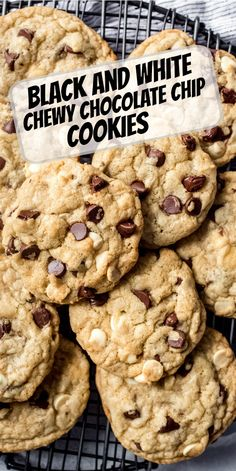 Black and White Chewy Chocolate Chip Cookies recipe from RecipeGirl.com #black #white #chewy #chocolate #chip #chocolatechip #cookie #cookies #recipe #RecipeGirl