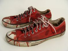 Bloody Red ZOMBIE SHOES vintage Chucks Converse All Stars mens 10 by wardrobetheglobe on Etsy, $40.00