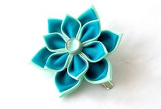 Blue Kanzashi Hair Flower by Scarlett and Maria