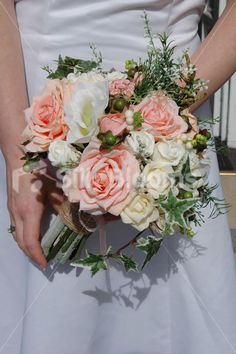 Peach & Ivory Mixed Rose Garden Bridal Bouquet with Ivy Leaves