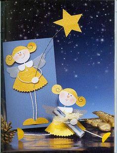 Fotó: Christmas Card Pictures, Christmas Cards To Make, Christmas Angels, Kids Christmas, Holiday Greeting Cards, Christmas Greetings, Angel Crafts, Christmas Crafts, Paper Christmas Decorations