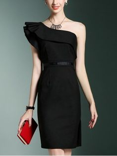 One Shoulder Ruffled Midi Dress Black One Shoulder Ruffled Midi Dress Trendy Dresses, Casual Dresses, Fashion Dresses, Couture Dresses, Women's Dresses, Modest Fashion, Dress Outfits, Black Women Fashion, Womens Fashion