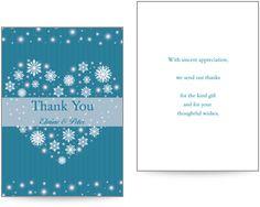 Winter themed wedding thank you card