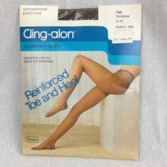 Vintage Nylon Pantyhose Sears Cling-Alon Sandpiper Size Tall Reinforced Toe Heel  | eBay