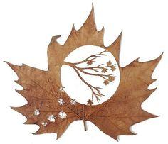 leaf carving   Leaf carving art