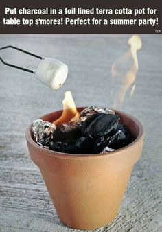 DIY Ideas to Get Your Backyard Ready for Summer - Terra Cotta S'mores Pit - Cool Ideas for the Yard This Summer. Furniture, Games and Fun Outdoor Decor both Adults and Kids Will Enjoy Publix Summer Backyard Summer Life Hacks, Simple Life Hacks, Useful Life Hacks, Awesome Life Hacks, Summer Fun, Summer Time, Enjoy Summer, Summer Parties, Terracotta Pots
