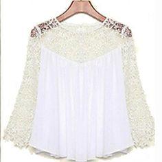 resorte mujeres del verano blusas de moda las camisas de encaje casuales blusas de la gasa tops de encaje blanco – USD $ 12.99