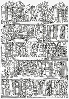 Do you love a good book? You read a lot? If you do, then enjoy yourself while coloring this amazing, vintage Bookshelf Doodle Coloring Page. More