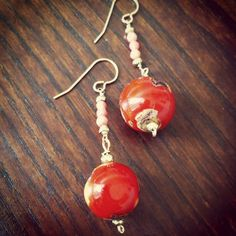 Pink and bright orange coral earrings Coral Earrings, Drop Earrings, Bright, Orange, Pink, Jewelry, Fashion, Moda, Jewlery