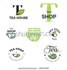 Set of tea label and logo design elements. Vector. - stock vector