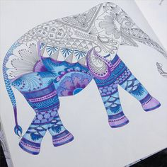 Love use of colours in this on Instagram - Next one started... #adultcoloring #adultcolouring #adultwhocolors #adultcolouringbook #adultcolouringbooks #animalkingdom #milliemarotta #arttherapy #elephant