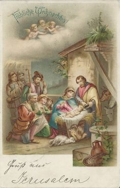 """Vintage Christmas card, the handwritten greeting reads """"From Jerusalem"""". From my private Collection"""