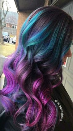 Beautiful blue purple ombre dyed hair color