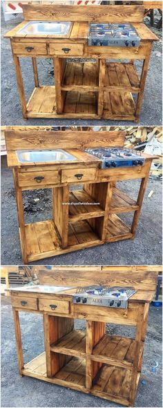 Affordable DIY Ideas Out of Recycled Wood Pallets This outdoor kitchen design of wood pallet has always been coming out to be the excellent option for the house that showcase out the impression of inspiring looking for the house usage. Check out this outd Outdoor Kitchen Design, Diy Kitchen, Design Kitchen, Kitchen Decor, Outdoor Camp Kitchen, Diy Pallet Kitchen Ideas, Funny Kitchen, Kitchen Wood, Wood Pallet Furniture